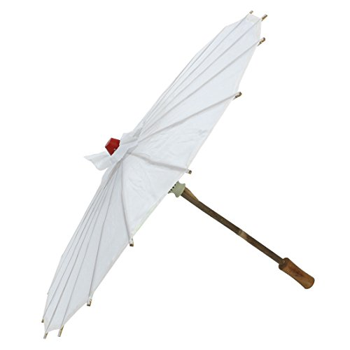uxcell Bamboo Frame Woman Party Dancing Chinese Tradition Sun Umbrella Parasol White by uxcell