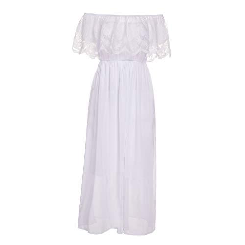 LIKESIDE Dress Casual Off Shouder Lace Ruffled Boho Evening Party Maxi Dresses White