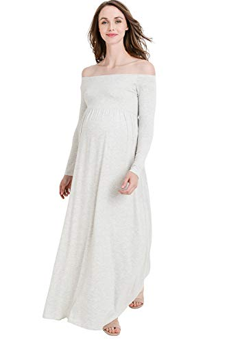 Women's Maternity Off Shoulder Dress - Maxi, Baby Shower, Photography, Made in USA (Light Gray, M)