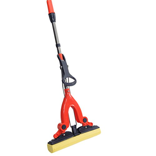 NFHOME PVA Sponge Floor Mop with Professional Telescopic Extension Handle for Home Kitchen Hardwood Laminate Wood Ceramic Tiles Floor (Groove Wood Poles)