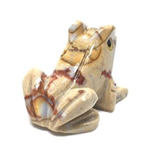 Nelson Creations, LLC Frog Natural Soapstone Hand-Carved Animal Charm Totem Stone Carving Figurine, 1.5 Inch