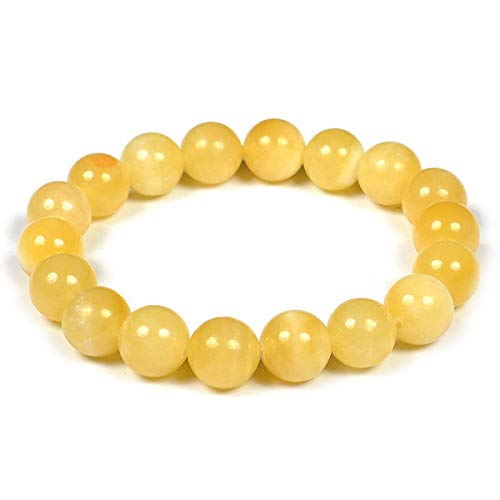 Reiki Crystal Products Yellow Calcite Bracelet 10 mm Round Bead Reiki Healing Crystal Bracelet for Unisex (Color : Yellow)