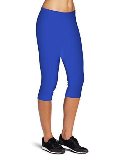 Ladyhers Women's Audel Cotton Yoga Capris Pants Tummy Control Workout Running 4 way Stretch Yoga Capris Leggings L Blue
