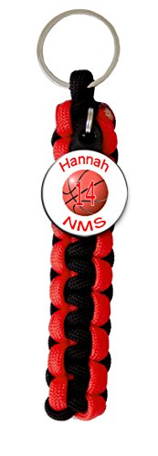 Basketball Keychain Team Color (Paracord Key Ring with Personalized Basketball Charm. You choose Name, Team Name, Font Color and Paracord Colors)