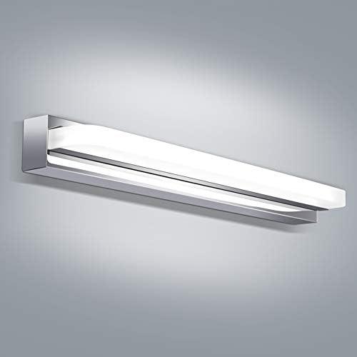 OOWOLF LED Spiegelleuchte,8W Spiegellampe Badezimmer,44cm Weißlicht 6000K 700LM CRI>80 Edelstahl Acryl Spiegel Schminklicht kaltweiß 220V Bad LED Badlruchte LED Spiegelscheinwerfer[Energieklasse A+]