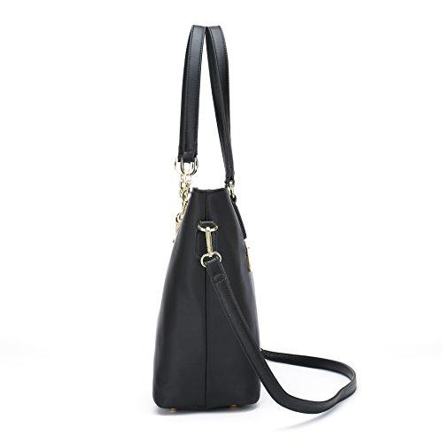 e0b846fb4a994b Women Shoulder Bag Tote Bag for Work Handbag and Purse 6 Piece Set Bag  (Black