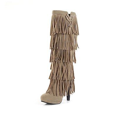 Heart&M Damen Schuhe Leder Herbst Winter Komfort Modische Stiefel Stiefel Stöckelabsatz Spitze Zehe Quaste Kombination Für Kleid Schwarz Gelb almond
