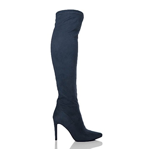 Boots Elastic Ajvani Riding high Pointed Ladies Suede Navy The Womens Over Toe Knee Heel Size Stretch qU7q1np