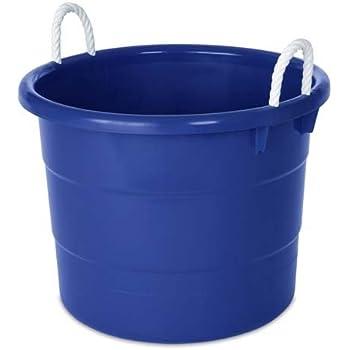homz plastic utility tub with rope handles pack of 4 18 gal cobalt. Black Bedroom Furniture Sets. Home Design Ideas