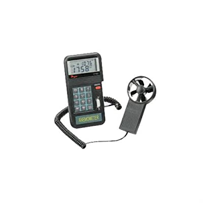 Dwyer Model VT-200 Digital Vane Thermo-Anemometer, 0.3-45 m/s Velocity, CFM (ft³/min) and CMM Air Volume, 0 to 50° C Temperature