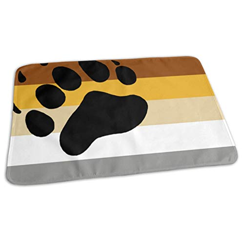 - Gay Flag Bear Paw Fashion Changing Pad Waterproof Pad Liners for Babies Bed Play Stroller Crib Car Diaper 19.7x27.5