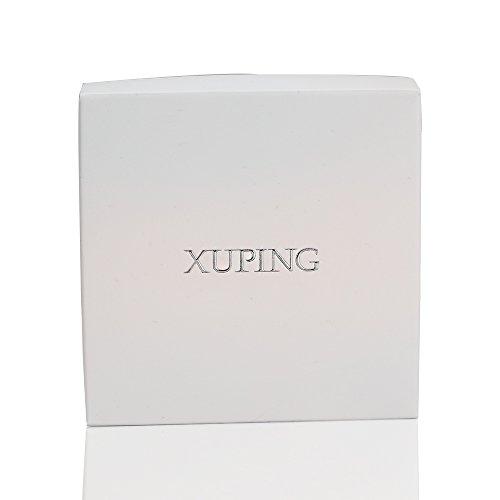 XUPING Bijoux Plaqué Platine Visario Fleur Boucles d'oreilles Créoles (Rose)