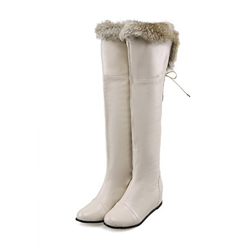 Lace Beige AmoonyFashion Knee Above Up Closed Kitten PU Round Boots Toe The Heels Women's qBRXnwFBH
