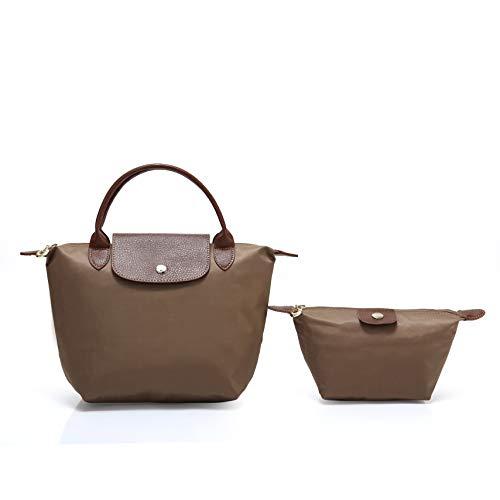 2 pcs Women's Stylish Waterproof Tote Bag Nylon Travel Shoulder Handbag (Light brown;Mini number)