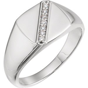 Men's Diamond Signet Ring, Rhodium-Plated 14k White Gold (.1 Ctw, G-H Color, I1 Clarity) Size 11 by The Men's Jewelry Store (Image #2)