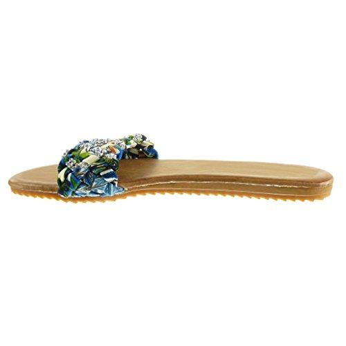 Tong Sandale 5 Lanière 1 Strass Femme Tréssé Angkorly cm Mode Talon Chaussure Bleu Diamant Plat 7Fxntg