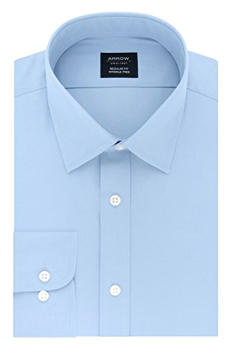 Arrow Men's Dress Shirt Poplin Regular Fit Spread Collar, Robins Egg Blue, 18-18.5