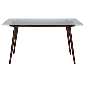 Flash Furniture Meriden 31.5 x 55 Solid Walnut Wood Table with Clear Glass Top