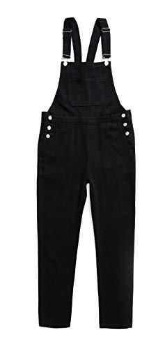 (Women's Classic Bib Overalls Jeans Denim Pants with Adjustable Strap Black)