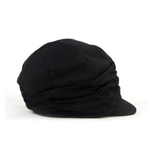 98dc14f10ff LOCOMO Women Girl Fashion Design Drape Layers Beanie Rib Hat Brim Visor Cap  FFH010BLK Black