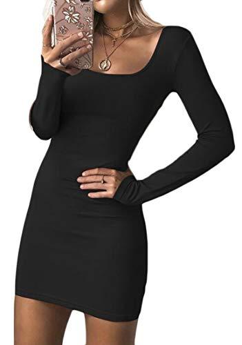Manches Longues Coupe Slim Sexy Femmes Domple Encolure Dégagée Mini Robe Moulante Casual Noire