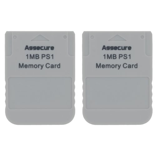 2 x Assecure PS1 1 MB Playstation 1MB Memory card PS2 compatible