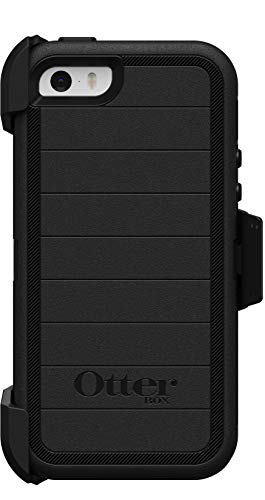 OtterBox Defender Series Rugged Case & Belt Clip Holster for iPhone SE (1st Generation ONLY), iPhone 5S, iPhone 5 - Non-Retail Packaging - Black - with Microbial Defense (Color: Black)