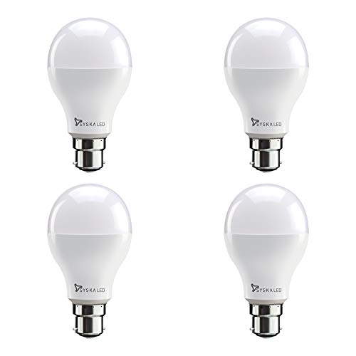 Syska SSK PAG N  12 W Base B22 12 Watt LED Light  Pack of 4, White