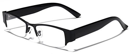 Rectangular Clear Lens Semi Rimless Women's Glasses (Black, - Designer Prescription Sunglasses