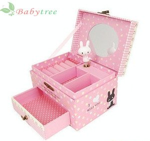 Pink Cute Cartoon rabbit Musical Jewellery BoxThe best Gift for
