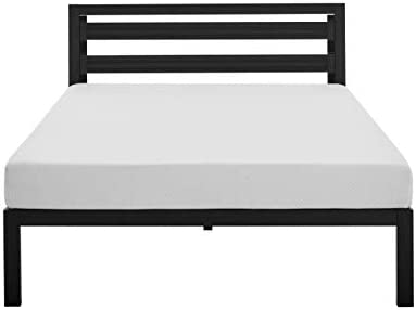 Amazon Basics Metal Bed with Modern Industrial Design Headboard – 14 Inch Height for Under-Bed Storage – Wood Slats – Easy Assemble, Queen 313OAynT8CL