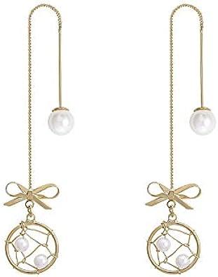 Pendientes de lazo Atrapasueños Pendientes delicados Perlas Antes y después de los pendientes Mujeres