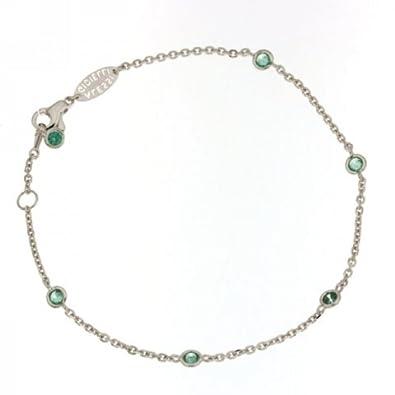 offerte esclusive prodotti caldi negozio del Regno Unito Bracciale tipo Tiffany in oro bianco 18kt e zirconi verde ...