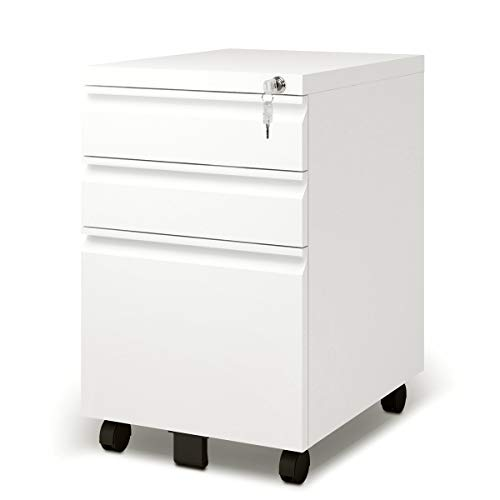 DEVAISE 3 Drawer Metal File Cabinet, Locking File Cabinet on Wheels, White