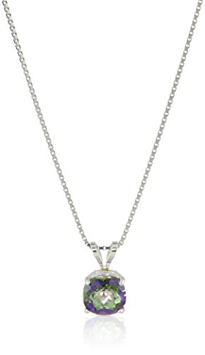 Sterling Silver Cushion-Cut Checkerboard Mystic Topaz Pendant Necklace ()