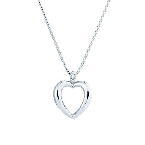 (Sterling Silver Round Diamond in Heart Pendant)