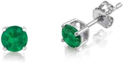 3mm Birthstone Round Cut Genuine Gemstone Rhodium Plated Sterling Silver Basket Setting Stud Earrings