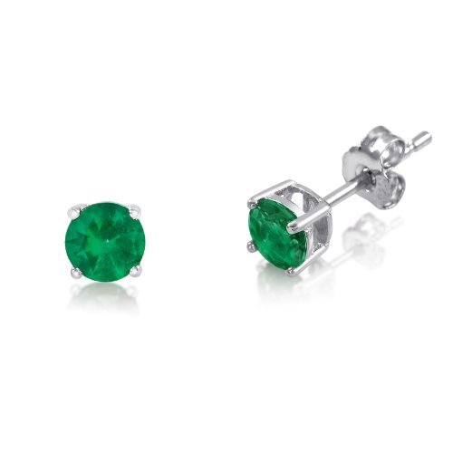 Emerald Sterling Plated - Genuine 3mm Brilliant Round Green Emerald Rhodium Plated Sterling Silver Basket Setting Stud Earrings