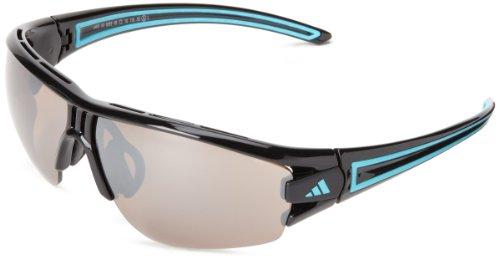 adidas Evil Eye Halfrim S Wrap Sunglasses, Shiny Black/Blue, 66 mm