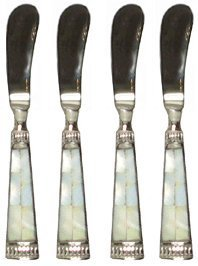 Pearl Cheese Set (Pate Knife w/ Mother of Pearl Handle, Set of 4 - Mother of Pearl)