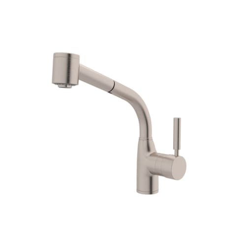 Rohl R7923STN Modern Lux Single Hole Side Metal Lever Kitchen Pullout Faucet with Handspray and Hose, Satin Nickel (Lever Handspray)