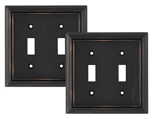 Pack of 2 Wall Plate Outlet Switch Covers by SleekLighting | Decorative oil rubbed bronze | Variety of Styles: Decorator/Duplex/Toggle / & Combo | Size: 2 Gang Toggle