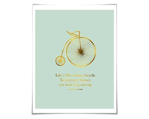 a Bicycle Gold Foil Art Print. Real Foil: Gold/Silver/Copper. 36 Colours/3 Sizes. Albert Einstein. ()