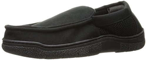 Dearfoams Men's Mixed Material Moccasin, Black, Large/11-12 M US