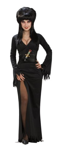 Elvira Mistress of the Dark Full-Length Dress, Black, Standard Costume (Halloween Black Dress Costumes)