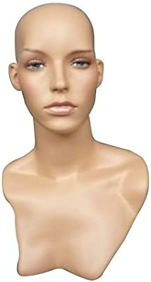 Painted Fiberglass Female Mannequin Head For Wig And Hat Display