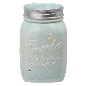 Scentsy Warmer, Chasing Fireflies, Mason Jar Light Blue Firefly Full-size Premium ()
