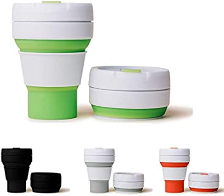355ML Collapsible Silicone Coffee Cup Mug Reusable Travel Foldable Leak Proof