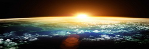 Artrend Wall Posters Earth Space Sunrise Science Landscape Panoramic picture for Christmas Decoration Gift 16x48