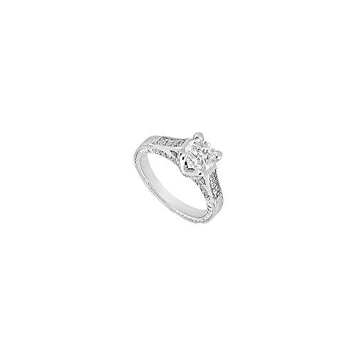 14K White Gold Semi Mount Engagement Ring 0.50 Carat Diamonds Center Diamond Not Included